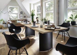 Plankebord med enestående bordben