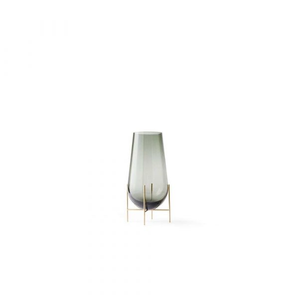 Echasse Vase Small Smoke/Brushed Brass - Menu