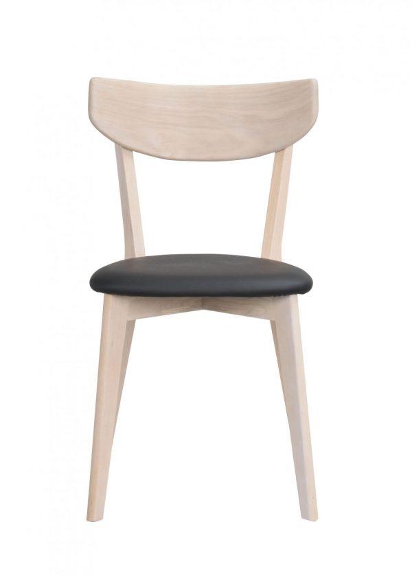 Ami spisebordsstol - hvidpigmenteret eg og sort PU læder