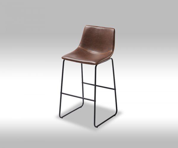 Indiana barstol - mørkebrun læder PU, sorte metalben