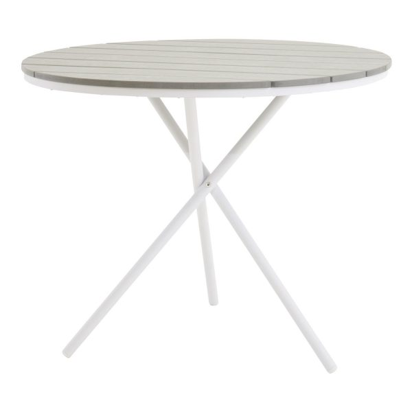 VENTURE DESIGN rund Parma udendørs cafébord - grå, hvid aluminium (Ø90)