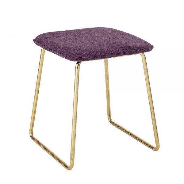 BLOOMINGVILLE Cajsa taburet - lilla/guld polyester/metal, kvadratisk