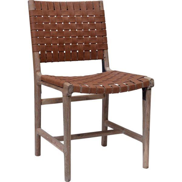 TRADEMARK LIVING James spisebordsstol - brunt læder flet og natur træ