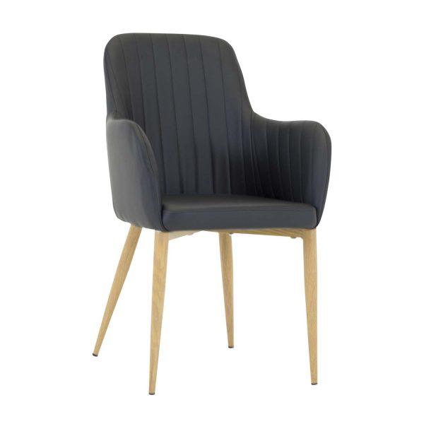 VENTURE DESIGN Comfort spisebordsstol, m. armlæn - sort PU og natur metal