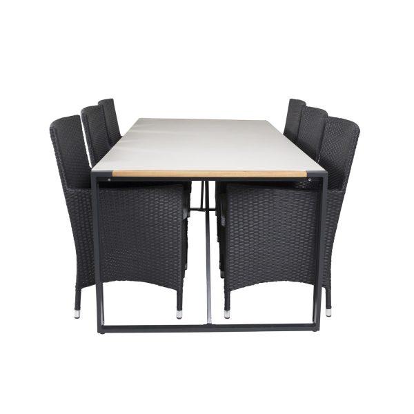 VENTURE DESIGN havesæt, m. Texas bord (200x100) og 6 Malin stole, m. armlæn - teak/alu/flet