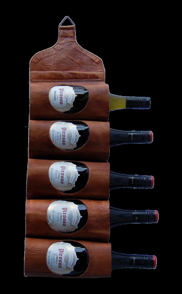 TRADEMARK LIVING vin- eller magasinholder - ægte brunt læder, m. 5 huller