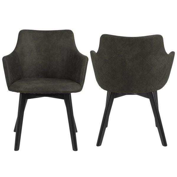 Bella spisebordsstol, m. armlæn - olivengrøn polyester og sort eg