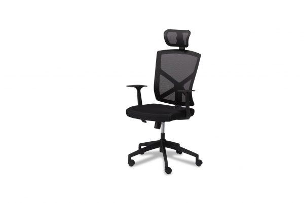 Nova kontorstol - sort stof, m. armlæn