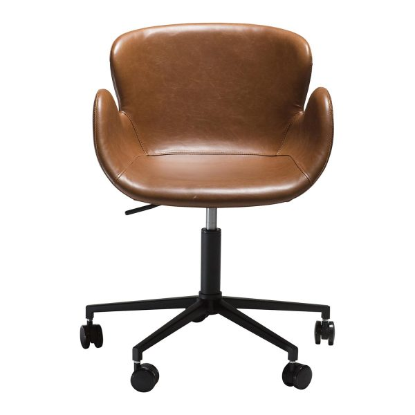 DAN-FORM Gaia kontorstol, m. armlæn og justerbar højde - vintage lysebrun kunstlæder og sort stål