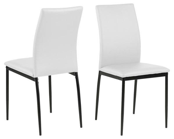 Demina spisebordsstol - hvid/sort kunstlæder/metal