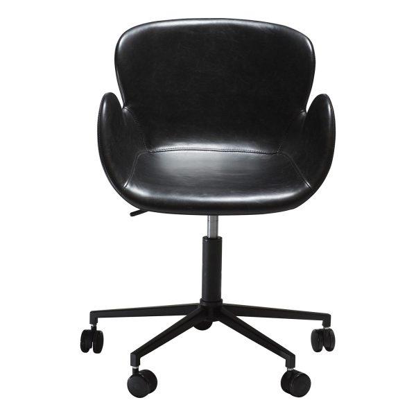DAN-FORM Gaia kontorstol, m. armlæn og justerbar højde - vintage sort kunstlæder og sort stål