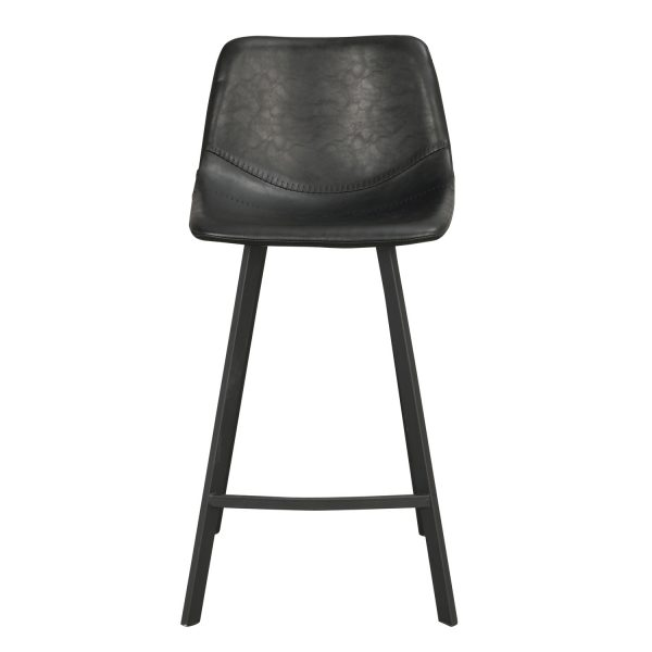 ROWICO Alpha barstol m. ryglæn og fodstøtte - sort PU og metal