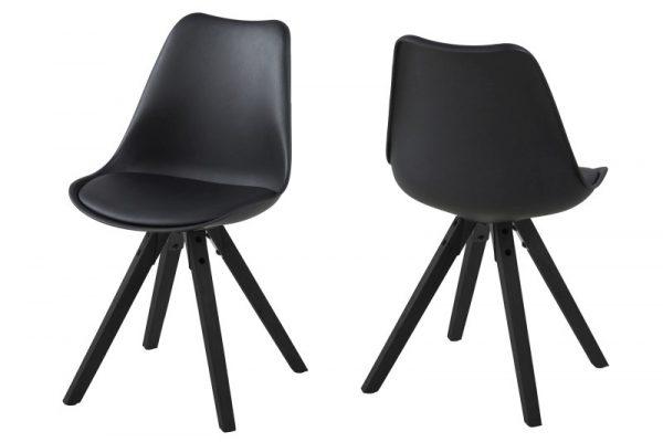 Dima spisebordsstol - sort læder PU, m. træ ben