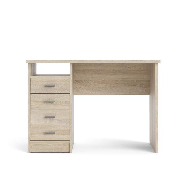 Function Plus skrivebord - egetræsstruktur, m. 4 skuffer