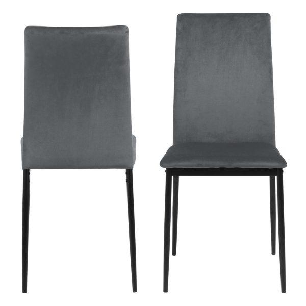 Demina spisebordsstol - mørkegrå polyester og sort metal