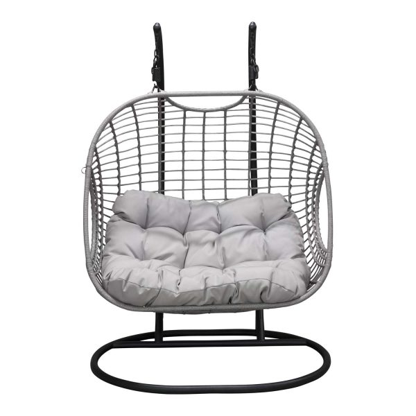 VENTURE DESIGN Viga dobbelt udendørs hængestol m. hynder - grå stof og rattan, sort stål