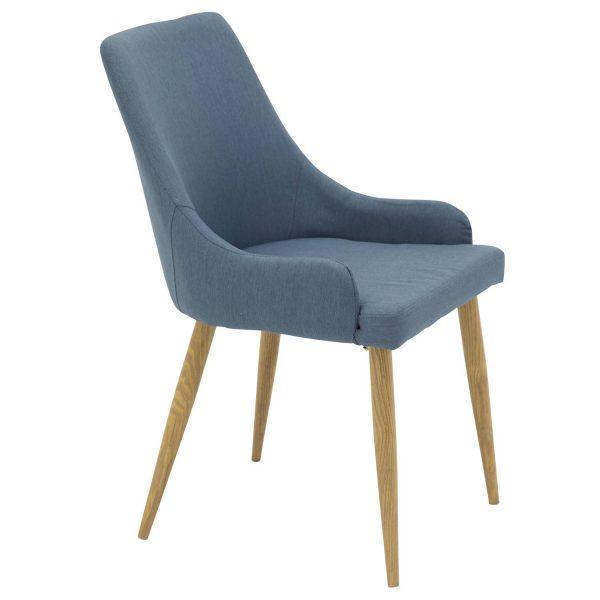 VENTURE DESIGN Plaza spisebordsstol, m. armlæn - blå polyester og metal