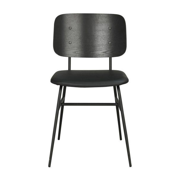 ROWICO Brent spisebordsstol - sort ask finér, sort PU læder og sort metal