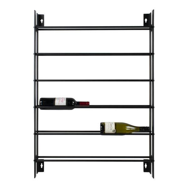 SPINDER DESIGN rektangulær Vine vinreol, m. 6 hylder - sort stål