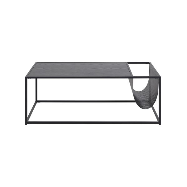 Rektangulær Seaford sofabord m. magasinholder - sort melamin og metal (110x60)