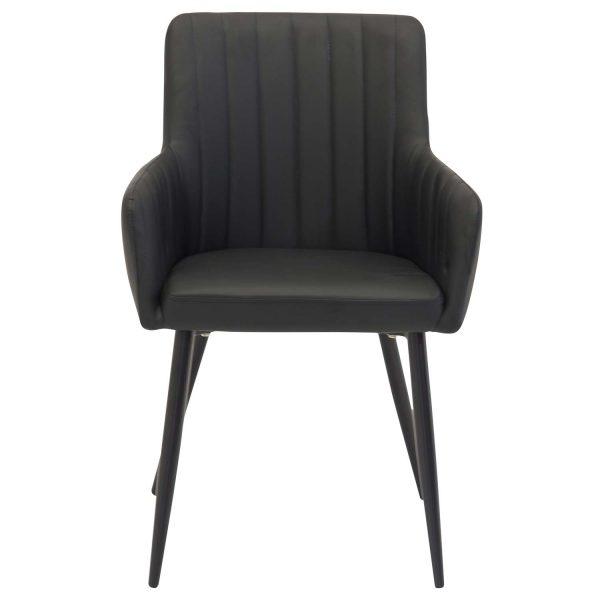 VENTURE DESIGN Comfort spisebordsstol, m. armlæn - sort polyester og metal