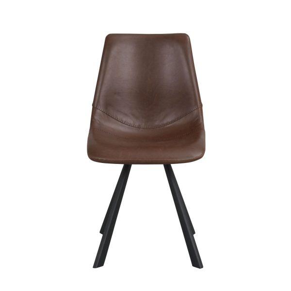 ROWICO Alpha spisebordsstol m. syninger - cognac PU og sort metal