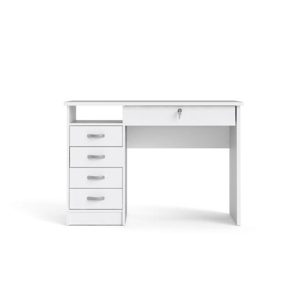 Function Plus skrivebord - hvid, m. 5 skuffer