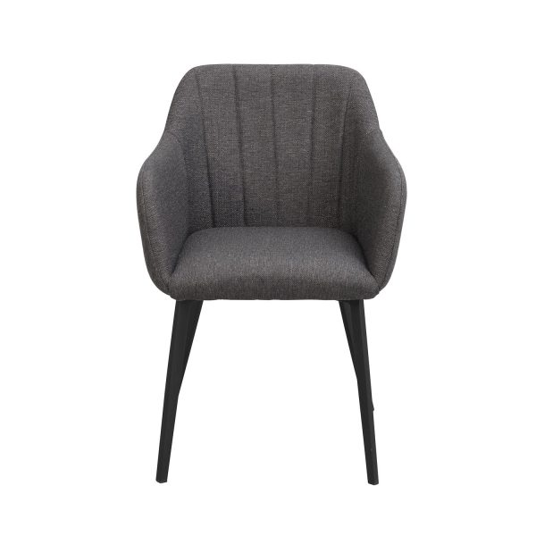 Rowico Bolton spisebordsstol, m. armlæn - grå polypropylen og sort metal