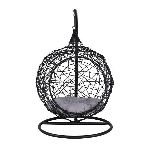 VENTURE DESIGN Lexi hængestol, mini - grå polyester, sort polyrattan og aluminium