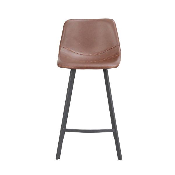 Rowico Aubum barstol, m. ryglæn og fodstøtte - brun kunstlæder og sort metal