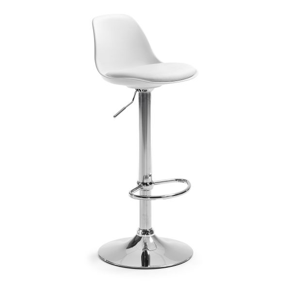 LAFORMA Orlando-T barstol, m. ryglæn og fodstøtte - hvid PU og plast/sølv stål