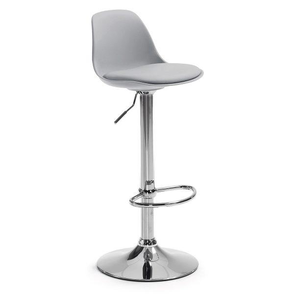 LAFORMA Orlando-T barstol, m. ryglæn og fodstøtte - grå plastik og PU samt krom stål
