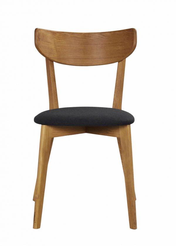 Ami spisebordsstol - lakeret eg og mørkegråt filt