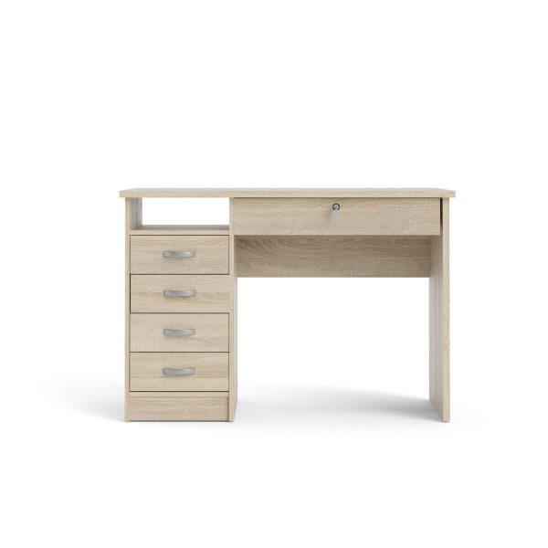 Function Plus skrivebord - egetræsstruktur, m. 5 skuffer