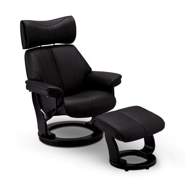 Toledo recliner lænestol, m. armlæn, fodskammel og justerbar nakke - sort læder