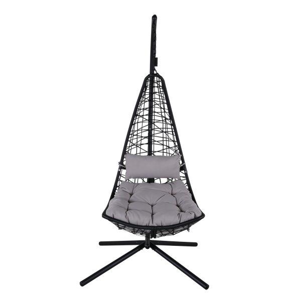 VENTURE DESIGN Edinburgh hængestol, m. hynde - grå polyester, sort polyrattan og aluminium