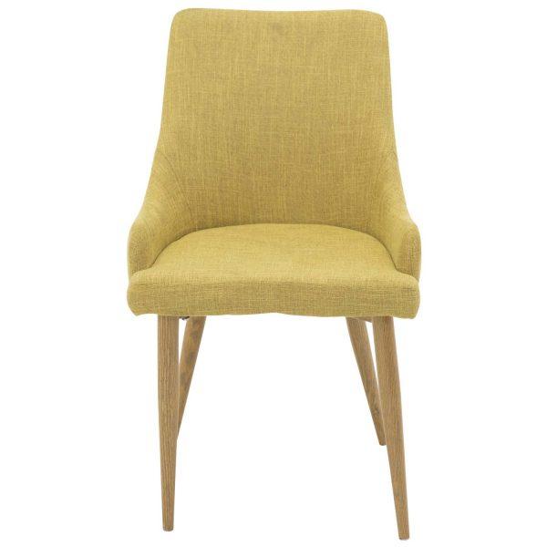 VENTURE DESIGN Plaza spisebordsstol, m. armlæn - sennepsgul polyester og metal