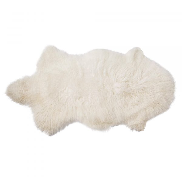 BLOOMINGVILLE skind - hvid mongolsk lammeskind, asymmetrisk (90x50)