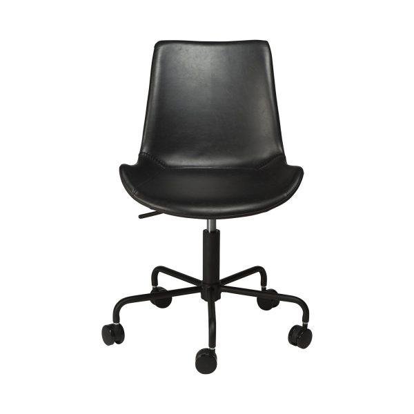 DAN-FORM Hype kontorstol - vintage sort kunstlæder og sort stål
