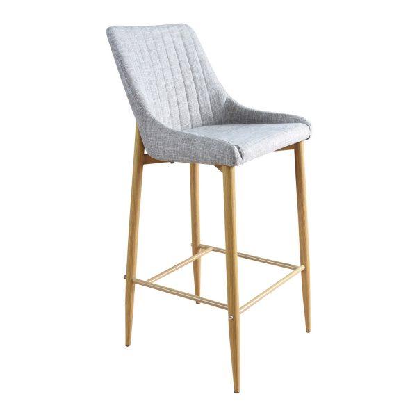 VENTURE DESIGN Plaza barstol, m. ryglæn og fodstøtte - lysegrå polyester og natur metal