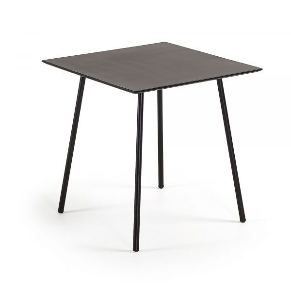 LAFORMA Ulrich cafébord - sort polycement/stål, kvadratisk (75x75)