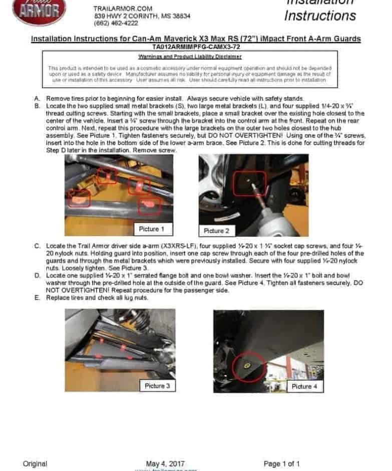Can-am Maverick X3 72″ Impact A-arm Guards