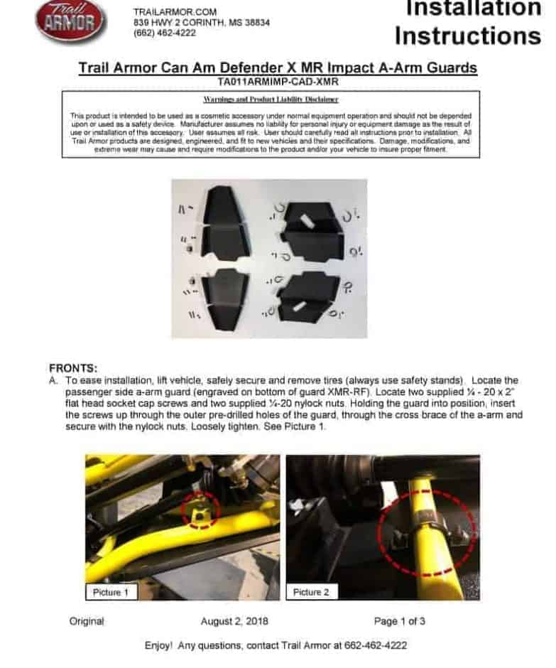 Can-am Defender A-arm Guards, Arched Edition