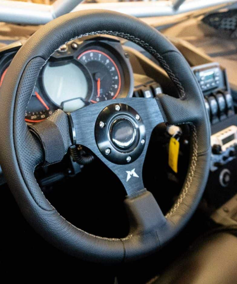 Black Leather Utv Steering Wheel