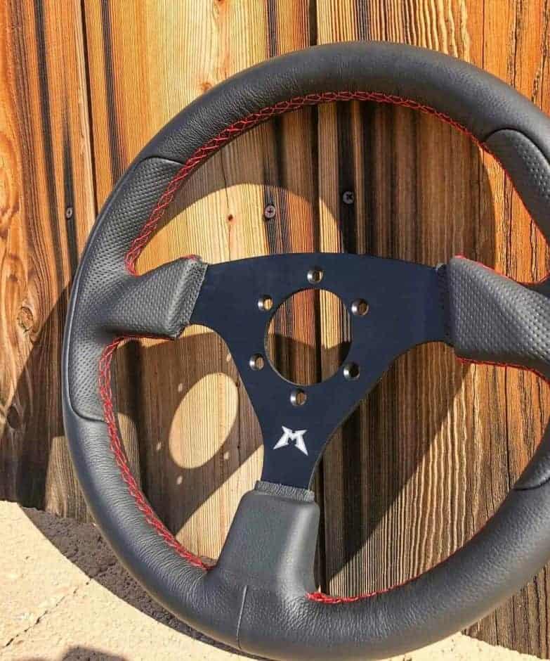 Black Leather Utv Steering Wheel