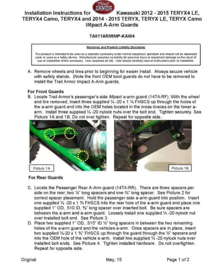 Kawasaki Teryx4 Impact A-arm Guards