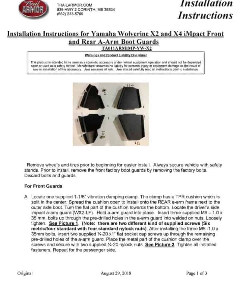 Yamaha Woverine X2 Impact A-arm Guards