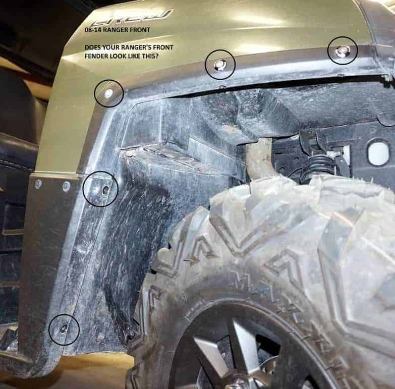 Polaris Ranger Mud Flap Fender Extensions