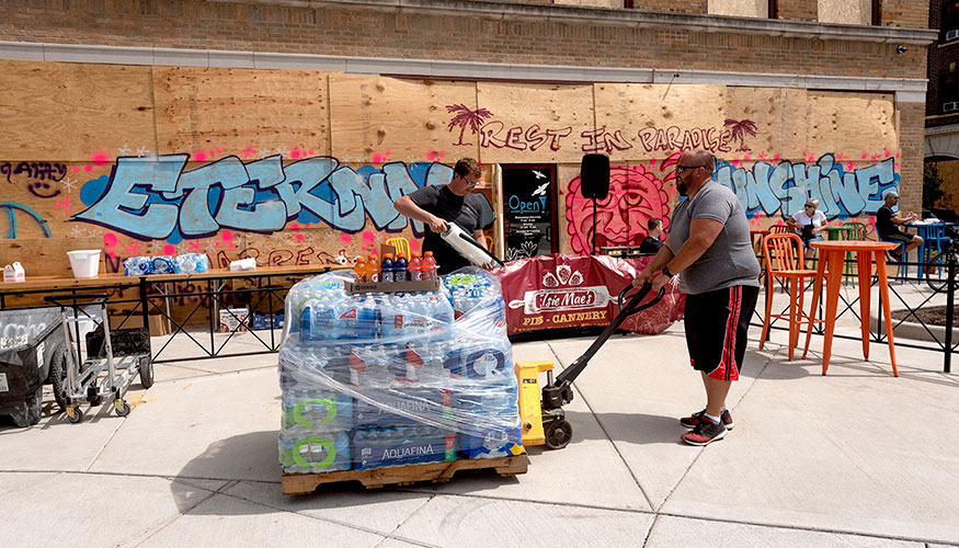 Kenosha's Mike Perrine delivers supplies downtown to the many volunteers who served the community to keep Kenosha Strong following the aftermath of protests and destruction this summer.