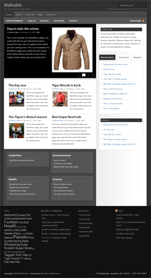 Malleable WordPress ThemeWordPress
